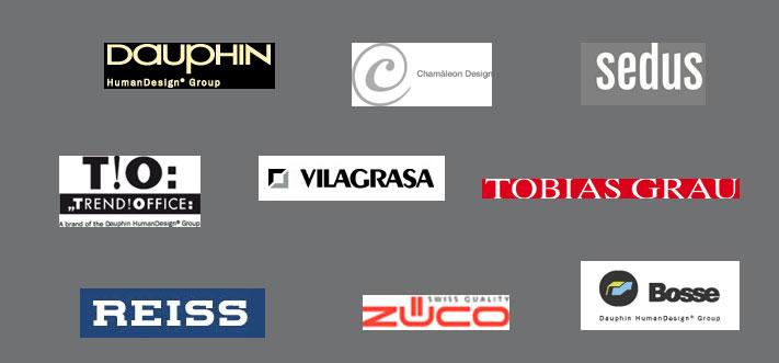 Lieferanten: Chamäleon, Dauphin, Tobias Grau, Sedus, TrendOffice, Vilagrasa, Z�co, Bosse, Gesika